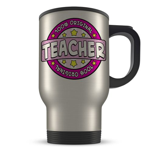 14oz 100% Original Teacher Novelty Gift Aluminium Travel Mug - Pink